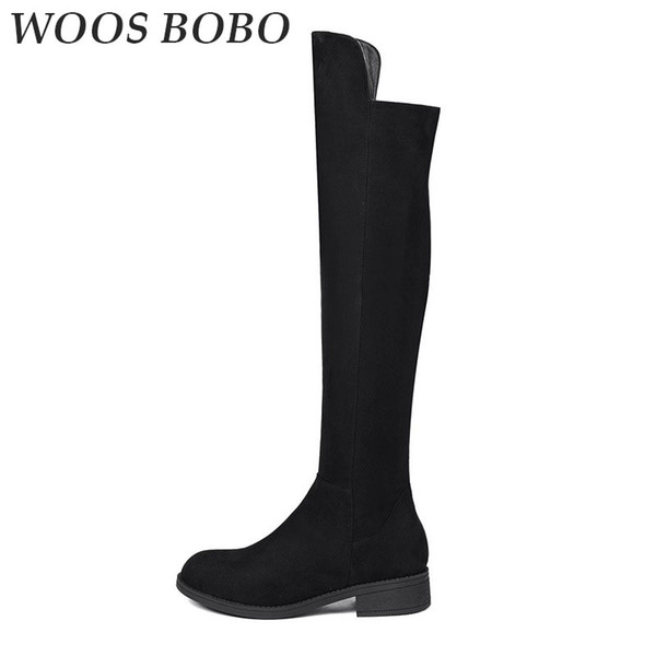 BOBO Womens Winter Thigh High Boots Casual Fashion Shoes Woman Brand Concise Round Toe Winter Boots Women Platform Heels Female