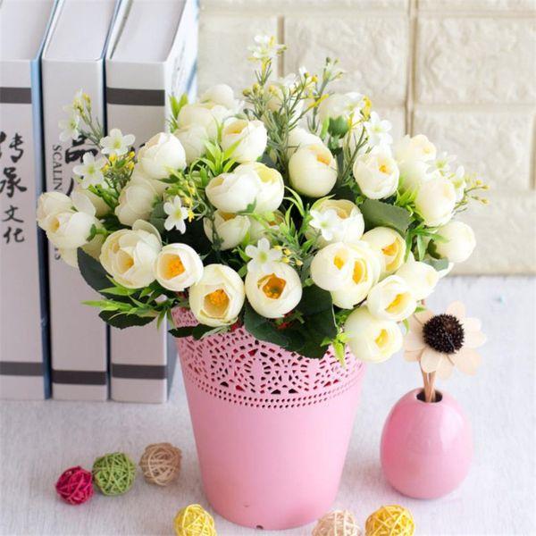 Fake Spring Camellia Bunch (5 stems/piece) Simulation Tea Rose for Wedding Home Showcase Decorative Artificial Flowers