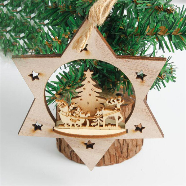 Christmas Wood Crafts.Creative Christmas Wooden 3d Pendants Ornaments Diy Wood Crafts Xmas Tree Ornaments Christmas Party Decorations Kids Gift Elegant Christmas