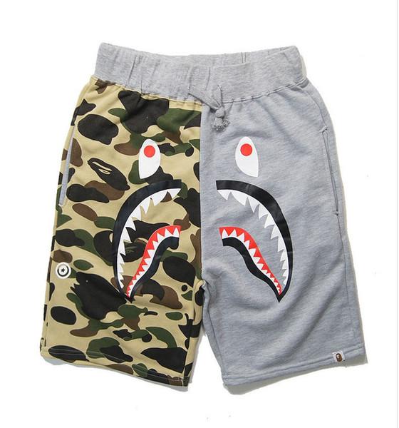 Wholesale Summer Men's Shark Shorts Cotton Camo Causal Shorts Men Casual Camouflage Skateboard Short Pants Loose Streetwear Sizes M-2XL