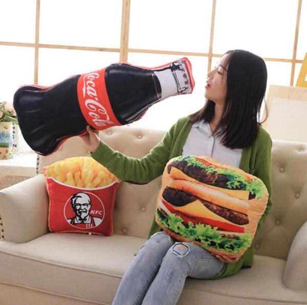 3D KFC Gıda Snack Şekilli Peluş Yatak Yastık Yastık Ev Dekor Parti Hediyeler