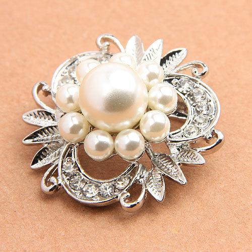flower brooches lapel pins for women and men zinc casting pearl rhinestone nickel free plating weight 11g/piece
