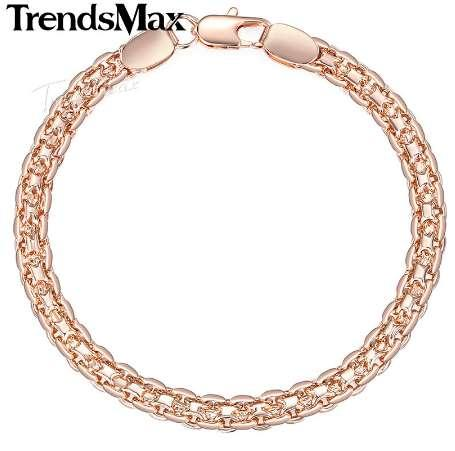 Trendsmax Mujeres Pulsera Tejiendo Bismark Enlace 585 Rose Gold Filled Pulsera para Mujeres hombres 4.5mm 18-23cm