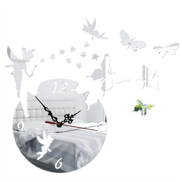 Creative Acrylic Butterfly Fairy DIY Mirror Wall Clock Sticker Home Living Room Decoration Decals Art Craft Silver Clearance