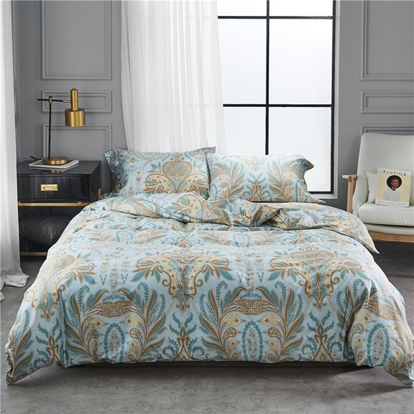 60 tribute satin long-staple cotton Egyptian cotton bed sheet set bedding shell buckle American print designs four pieces color as pictures