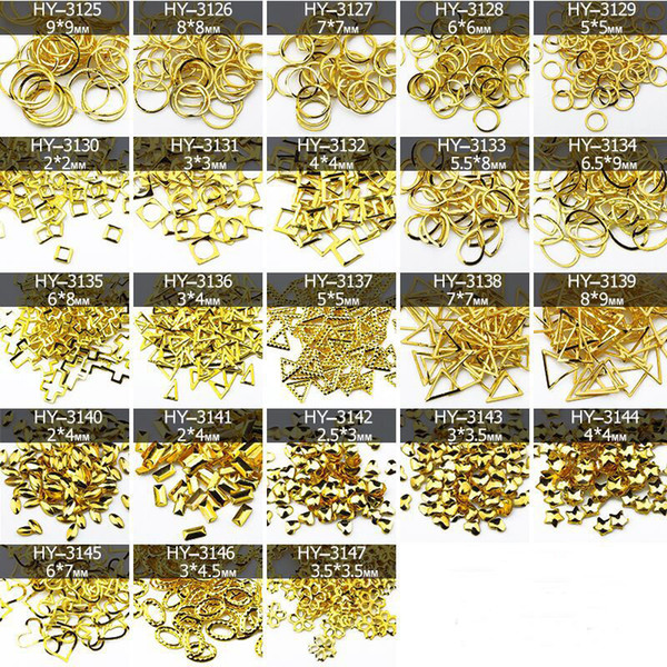 50pcs/lot, 3D Gold Nail Art Studs Different Round/Oval/Square/Triangle Shapes DIY Metal Rivets Nail Art Decorations Tools