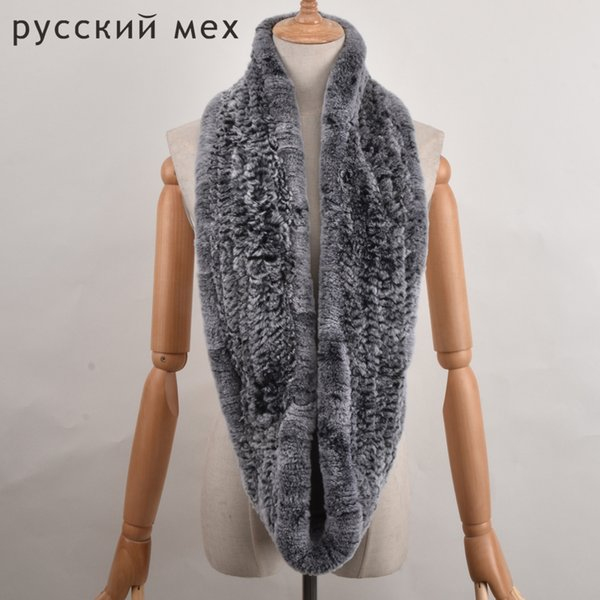 Women Rex Rabbit Fur Scarf Hand Knitted Fur Big Collars Real Loop Scarf Muffler Women's Winter Neck Ring