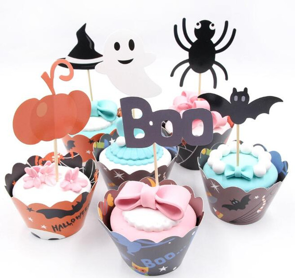 Halloween Cupcake Topper with Wrapper Halloween Cake Topper Halloween Decorations for Home Hallowmas Party Cake Decorating Supplies