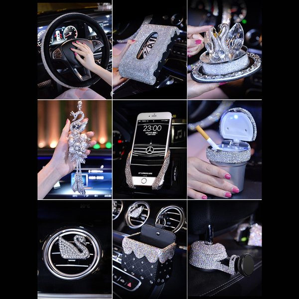 Crystal Steering Wheel Covers For Girls Car Decoration Accessories Outlet  Air Vent Phone Holder Clip Rhinestone Ashtray Women Automotive Interior