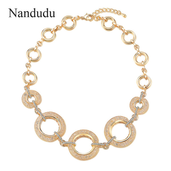 Nandudu Fashion Gold Mesh Net Filled Crystal Necklace Sparkling Circle Chain Necklace America Russia Jewelry Gift CN433