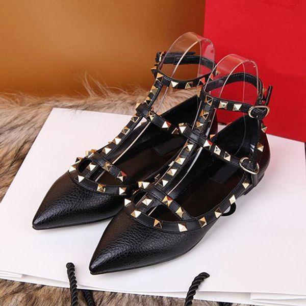 Alta calidad de lychee de cuero de vaca real de la manera de las señoras sandalias de diseñador zapatos de estilo europeo plana con caja