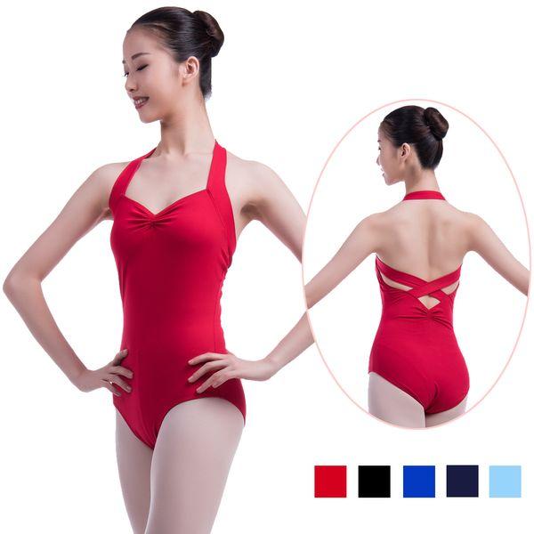 cce0fc44c7db Adult Ballet Leotards For Women Gymnastics Leotard Girls Halter Neck Cross  Back Dance Leotard Ballet Bodysuit Dance Clothes Red