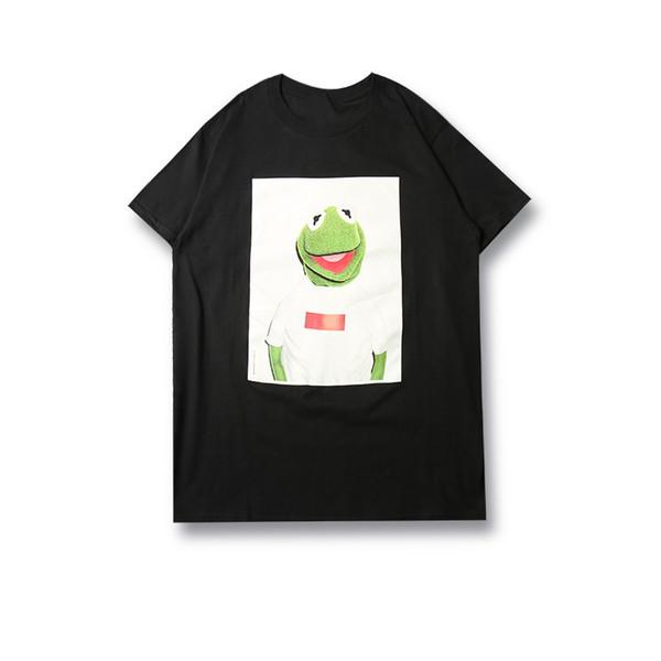 18FW Cuello redondo Camiseta de la caja logo Algodón Kermit Rana Camiseta de manga corta Camiseta inglesa Moda Negro Blanco HFLSTX021