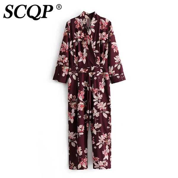 SCQP 2017 Fashion Flower Printing Deep V Neck Long Sleeve Ladies Jumpsuit Casual Formal Sashes Jumpsuits Womens Romper Overalls