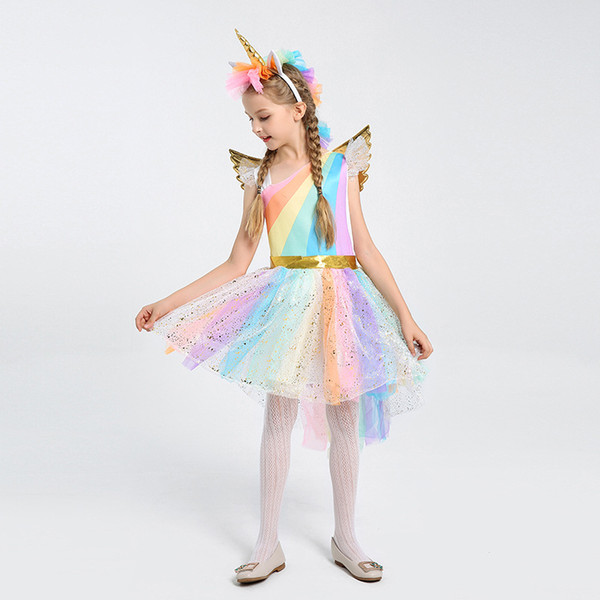 Hot Sale unicorn Girls Tutu Dress Rainbow Pony Cosplay Costume For Kids Birthday Party Dress Girl Halloween Costume Unique Girl