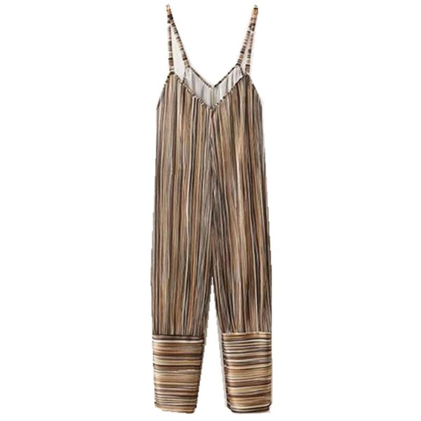 Vintage V neck Striped Print Pleated Spaghei Strap Long Jumpsuit 2018 Woman Backless Loose Full length Rompers Bodysuits