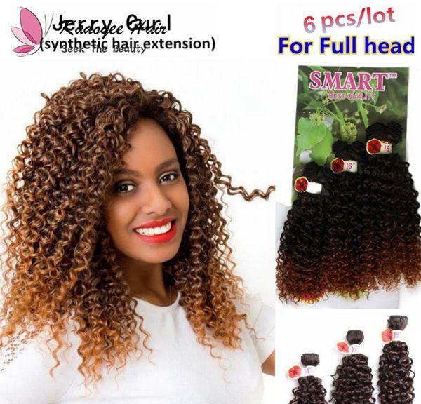 Jerry lockiges brasilianisches Haar bündelt 14-18inch 6pcs / lot für vollen Kopf in synthetischen Haarverlängerungen ombre braun dunkel lila Haarwebart