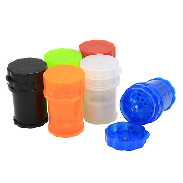 Newest Bottle Colorful Cup Shape 60MM Plastic Herb Grinder Spice Miller Crusher High Quality Beautiful Unique Design Multiple Colors Uses
