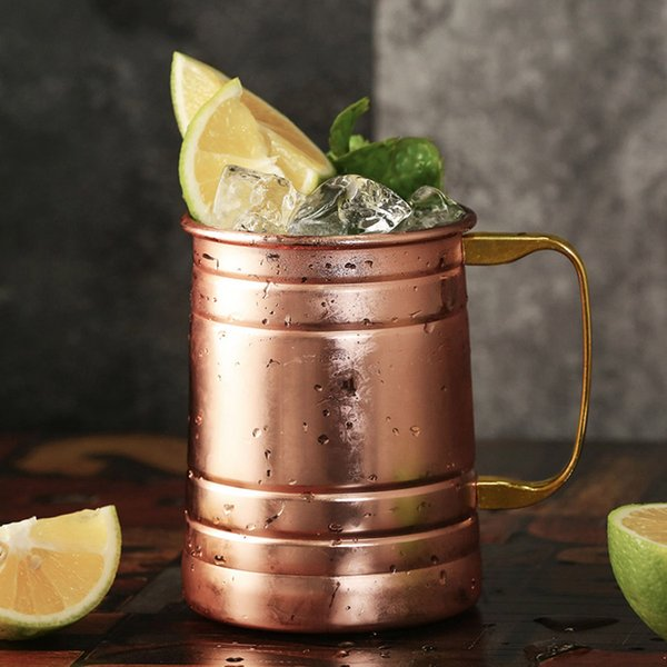 21oz Copper plated Stainless Steel Moscow Mule Mug Drum-Type Beer Cup Coffe Cup Water Glass Drinkware