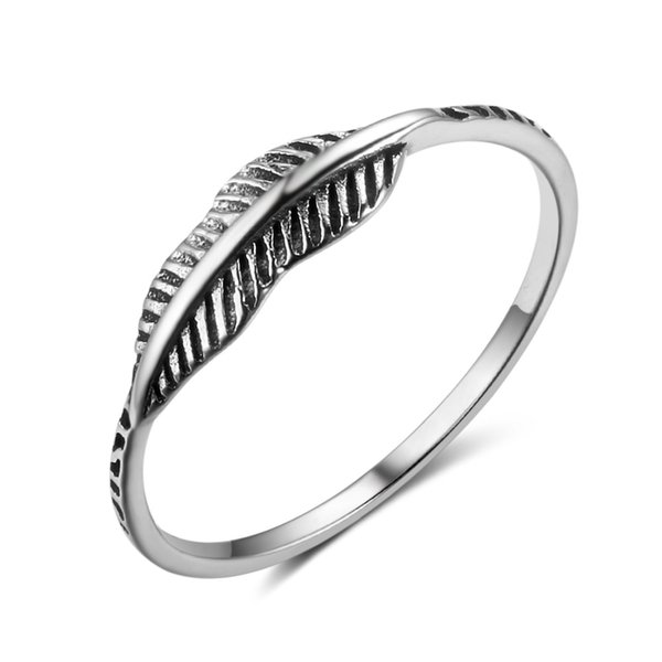 best selling Unique Design Fashion Oxidized Leaf Fashion Ring New 925 Sterling Silver Band Ring Feather Design Shaped Finger Ring