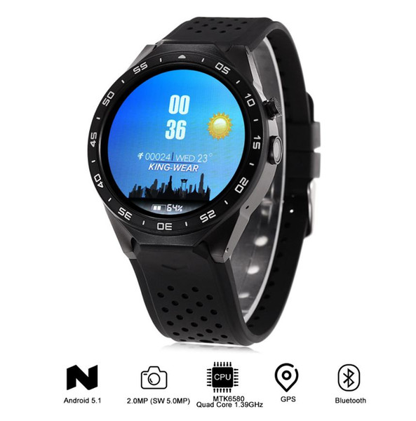 KW88 Android 5.1 1.39'' Screen 3G Smartwatch Phone MTK6580 Quad Core 512MB 4GB GPS Pedometer Smart Watch Men
