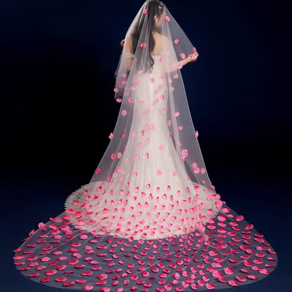 2018 New Arrival 3 Meters One Layer Lace Pink Petal Bridal Veil with Comb Wedding Accessories Bride Mantilla Wedding Veil