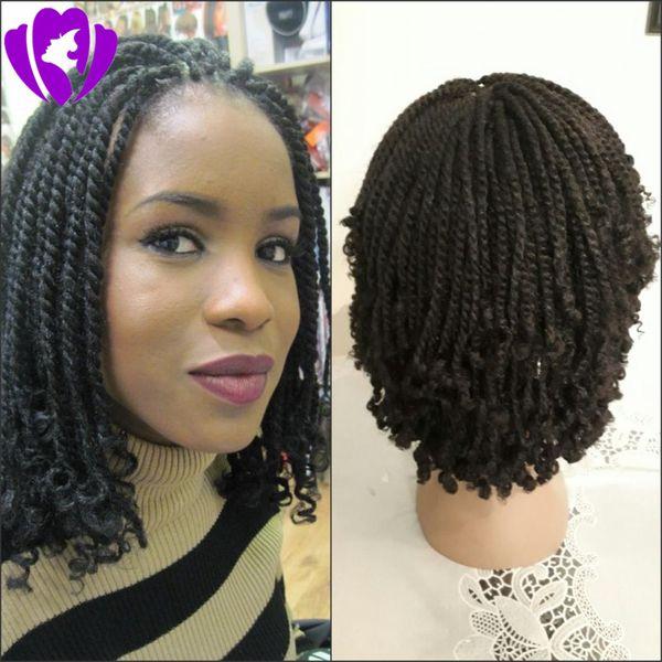 Großhandel 180density Volle Natürliche Schwarze Braune Ombre Farbe Brasilianische Volle Spitze Vordere Perücke Synthetische Kurze Haare Kinky