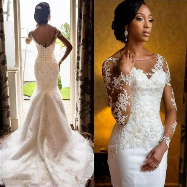 Saudi Africa Mermaid Wedding Dresses With Sheer Neckline Illusion Long Sleeves Wedding Gowns Lace Appliques Count Train African Bridal Dress