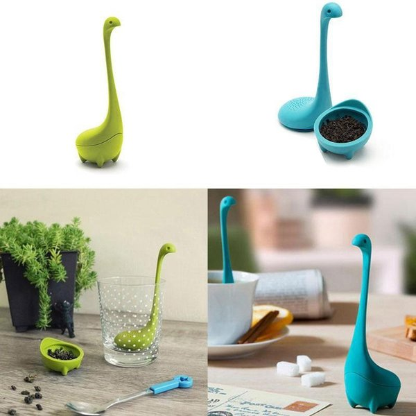 2018 new Loch Ness Monster Tea Infuser Mug Cup Silicone Tea Strainer Filter Kitchen Dining Bar Teaware Tools free shipping