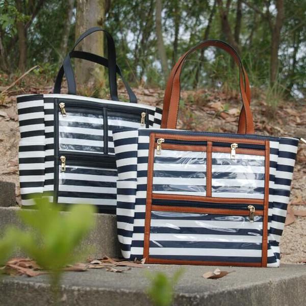 Raya de la PU bolsa de exhibición de PVC al por mayor espacios en blanco aceites esenciales bolso con claro Lipsrick bolsillos accesorios monedero DOM106576