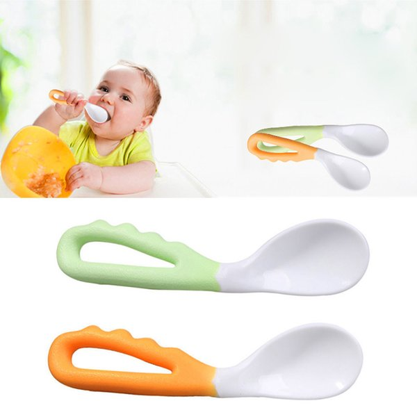 2Pcs/set Baby Infant Safe Spoon Solid Feeding Pacifier Bending Spoon Curved Flatware %328/38