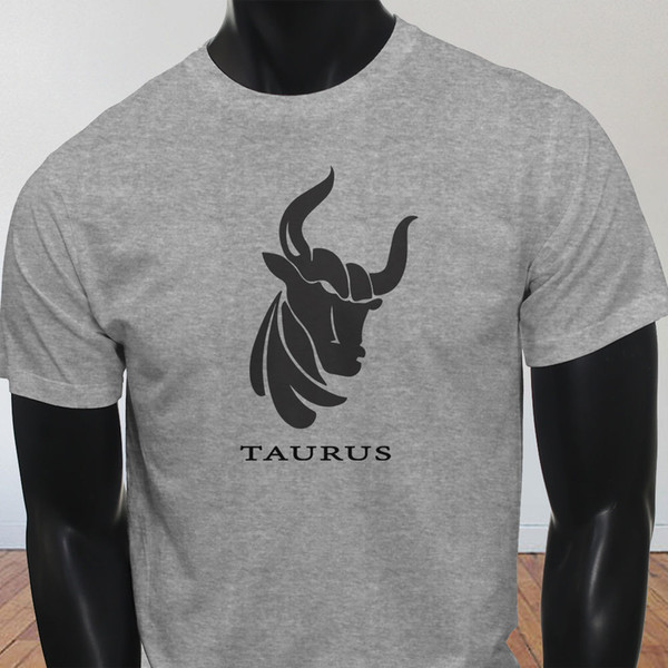 L'horoscope terrestre mai Vénus Taureau Tête Signe Astrologique Hommes Gris T-shirt Tee Shirt Impression Hommes Manche Ras Du Cou Coton XXXL Gamer T
