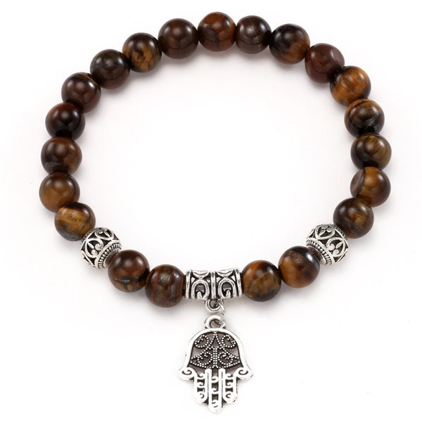 High Quality Tiger Eye Buddha Crown Love Pendant Bracelets Natural Stone Lava Round Beads Elasticity Rope For Men