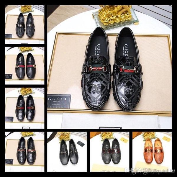 Best Designer Luxury New Fashion Rhinestone Men Wedding Party Dress Shoes Multicolor Pointed Toe Genuine Leather Male Business Shoes 38-45