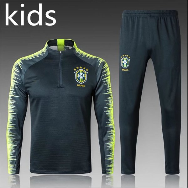 TOP quality 2018 KIDS Brazil tracksuit training suit 18 19 brasil child football tracksuit Survetement long sleeve training suit