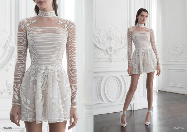 2019 Paolo Sebastian Short Prom Dresses High Low Luxury Embroidery Long Sleeves Cocktail Dress Party Wear Custom Plus Size Evening Gowns