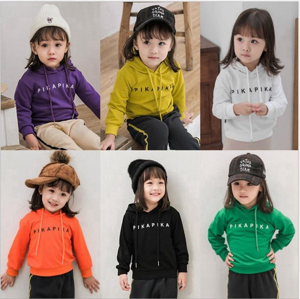 8037af80 Kids Hoodies Baby Girls Letter Print Tops Boys Solid Hooded Shirt Long  Sleeved Brushed Pullover Clothes Designer Autumn Clothing YL611