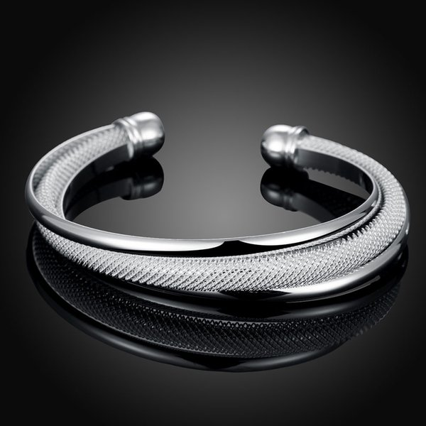 Women's fashion Bracelets SGS Test Past Latest Trendy Classic Silver Plating Bangle Wholesale Price 3 in 1 unclose chain bracelet