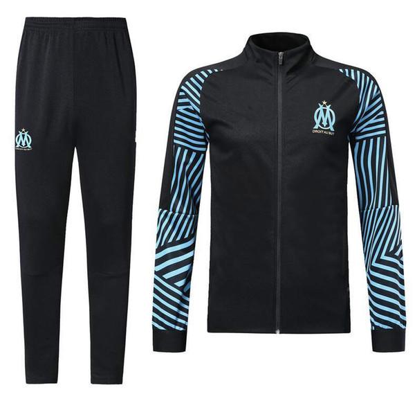 Großhandel Marseille Langarm Jacke Anzug Kit Fußball Jersey Olympique De Marseille Schwarz Training Uniform 201819 Fußball Anzüge Jacke + Pants Von