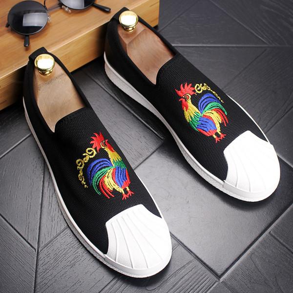 Sapatos masculinos Casuais 2018 preto Camurça De Couro Moda Masculina Mocassins Mocassins Bordados Deslizamento Em Apartamentos Masculinos Barco Sapatos Masculinos