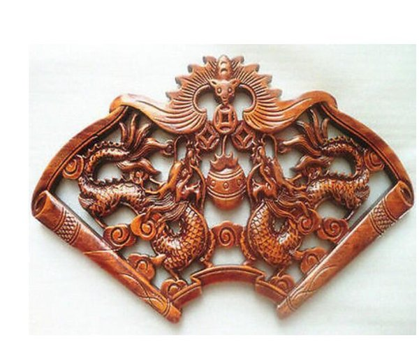 ART CHINESE HAND CARVED PAIR DRAGON STATUES CAMPHOR WOOD PLATE WALL SCULPTURE