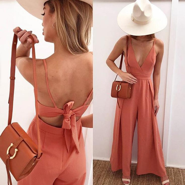Women clothes Jumpsuit 2018 Summer Fashion Strap Sexy V-neck Halter Bow Loose Fitted Trousers Women's Jumpsuits & Rompers
