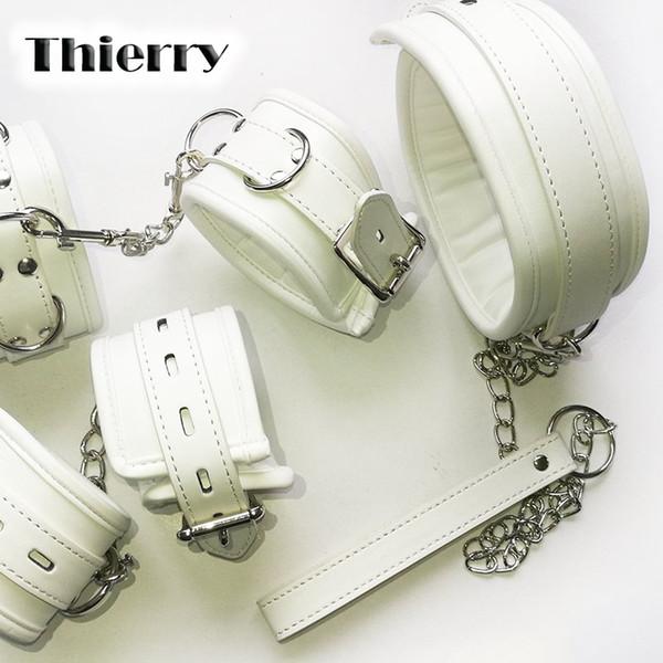 Thierry Luxury soft white Bondage Restraints hands collar wrist ankle s for Fetish erotic adult games couple Sex produc Y18102405