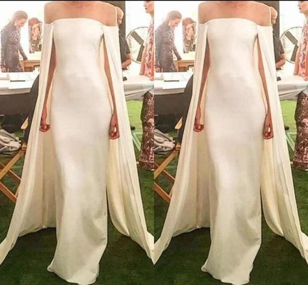2019 New Fashion Evening Dresses With Cape Satin Strapless Off Shoulder Floor Length Sexy Plus Size Custom Made Prom Party Pageant Gowns