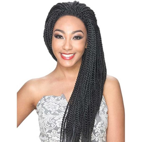 African American Braided Wigs Micro Twist Synthetic Braided Lace Front Wig Glueless Long Braided Lace Wigs With Baby Hair