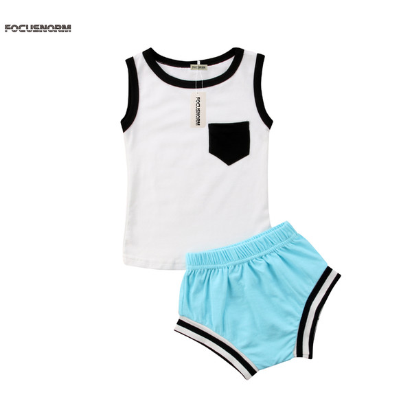 Infant Baby Boy Girl Sleeveless Pocket Cloth Set Vest Tops+Short Pants 2Pcs Outfits Newborn Summer O-Neck Solid Clothes Sets