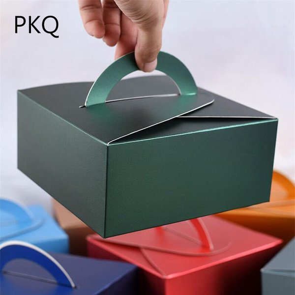 20pcs/lot Christmas Green Paper Gift Box Cake Packaging Box for Cupcake Small Pastry Boxes with Handle Wedding Party Favors 10/8