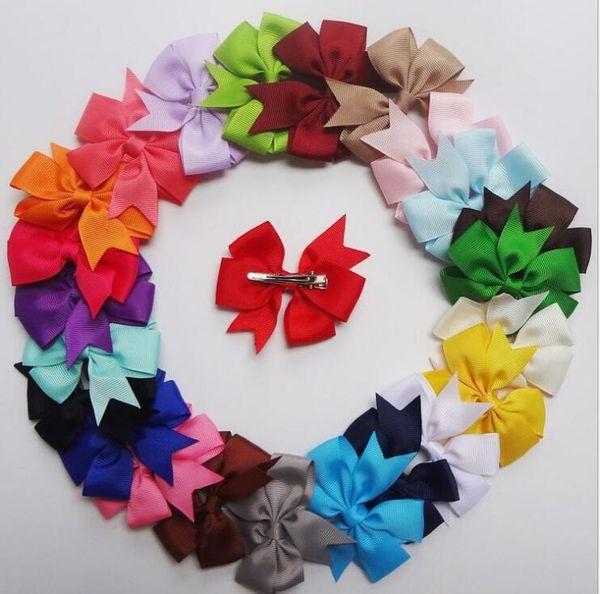 Acessórios para o cabelo Grande Cheer Bow Baby Girl Sólida Elogio Da Fita Arcos Com Clipe Jacaré Handmade Meninas Cheerleading Arcos 25 Pçs / lote