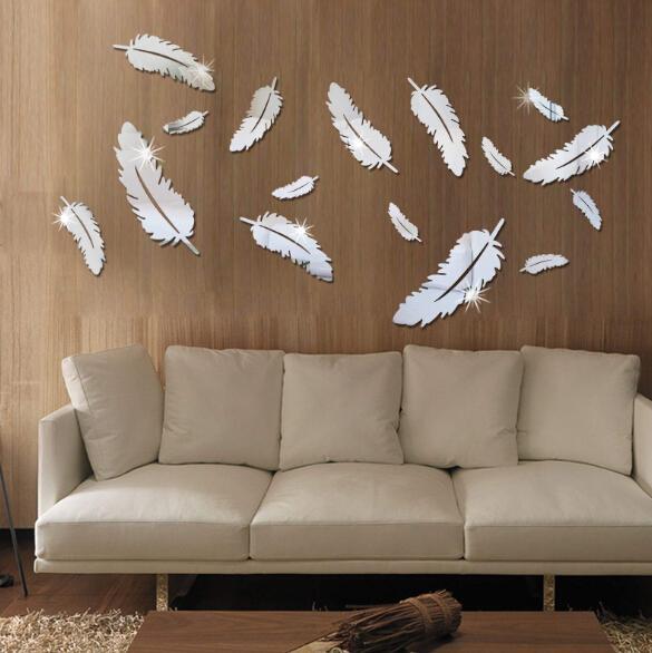 Plume Conçu 3D Miroir Stickers Muraux 3D Plumes Miroir Stickers Muraux Papier Peint Acrylique DIY Décalque Mural Chambre Décoration