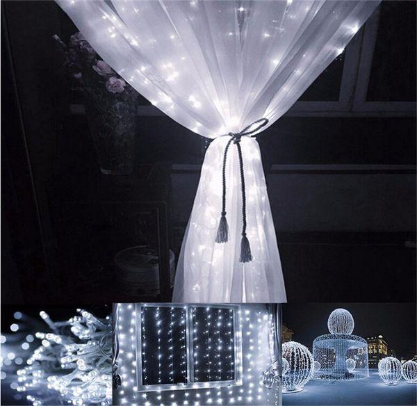 Luz LED para cortina 3M * 3M 300 bombillas LED Navidad Navidad La cadena Diodo emisor de luz UE Enchufe Lámpara multicolora multicolor LED blanco